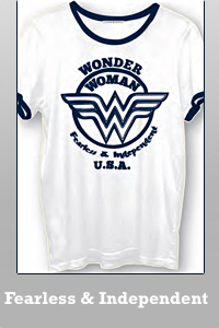 Junk Food Wonder Woman fearless and independent ringer the retro t-shirt for women.